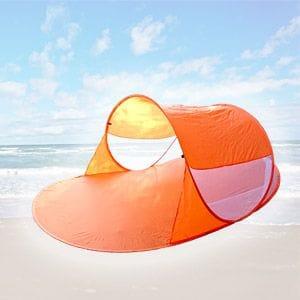 Wurf-Strandmuschel zusammenlegen