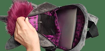 Innenfächer des Einhorn Rucksacks im Detail: hier passt auch ein 15 Zoll Laptop hinein